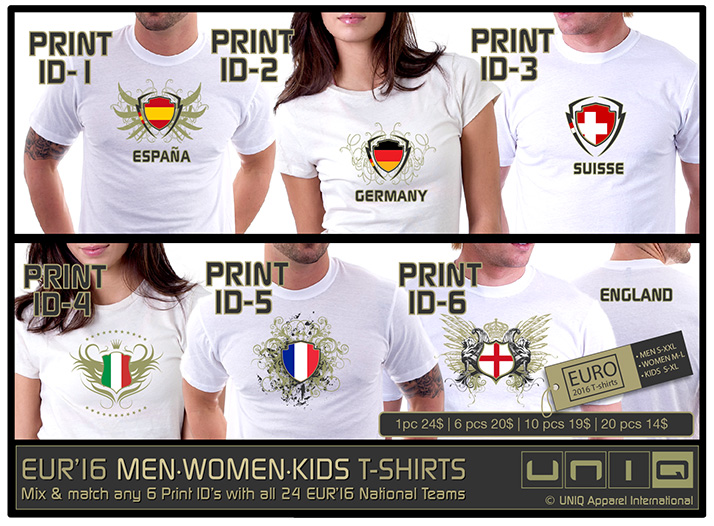Event T-Shirts with Screen Print - Euro 2016 Fan T-Shirts - Euro T-shirts - Screen Print Wholesale